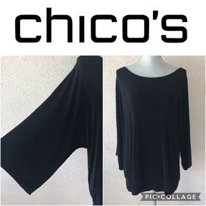 Chico's Travelers Black Wide Arm Slinky Top XL